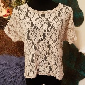 Needle & Thread nude lace top